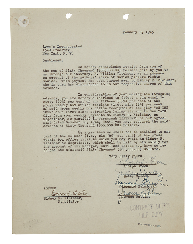 BERNSTEIN, LEONARD. Typed Document Signed, agreeing to pay Loews Inc. a portion of proceeds from the play On the Town in exchange for