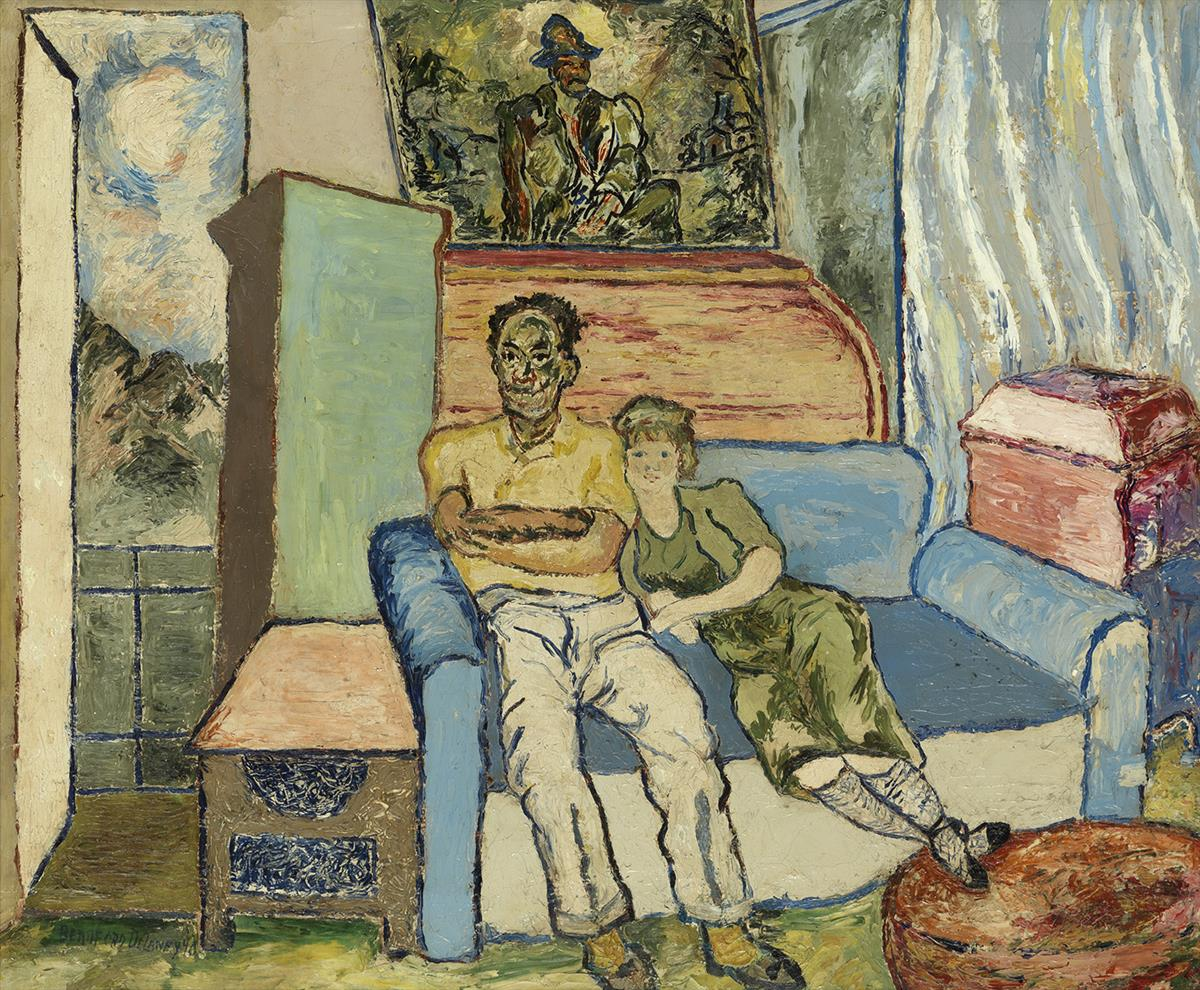 BEAUFORD DELANEY (1901 - 1979) Untitled (The Artist and Woman Seated).