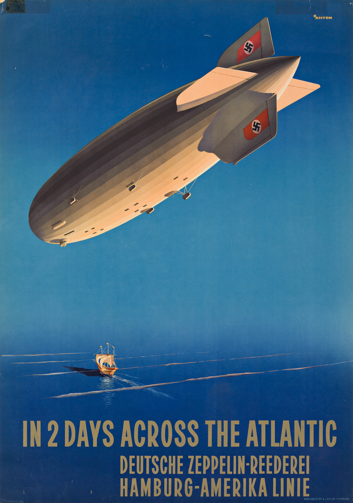 Ottomar Anton (1895-1976).  IN 2 DAYS ACROSS THE ATLANTIC / HAMBURG - AMERIKA LINIE. Circa 1936.