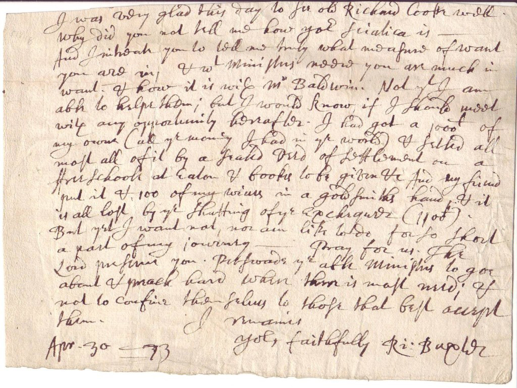 BAXTER, RICHARD. Fragment of an Autograph Letter Signed, Ri:Baxter, to an unknown recipient, including only the last 18 lines,