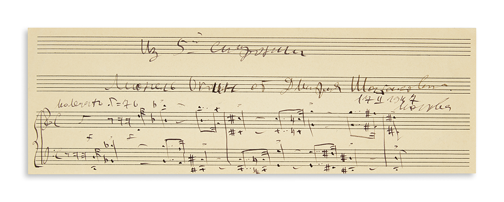 SHOSTAKOVICH, DMITRI. Autograph Musical Quotation Signed and Inscribed, to Lionel Okvin[?], in Russian,