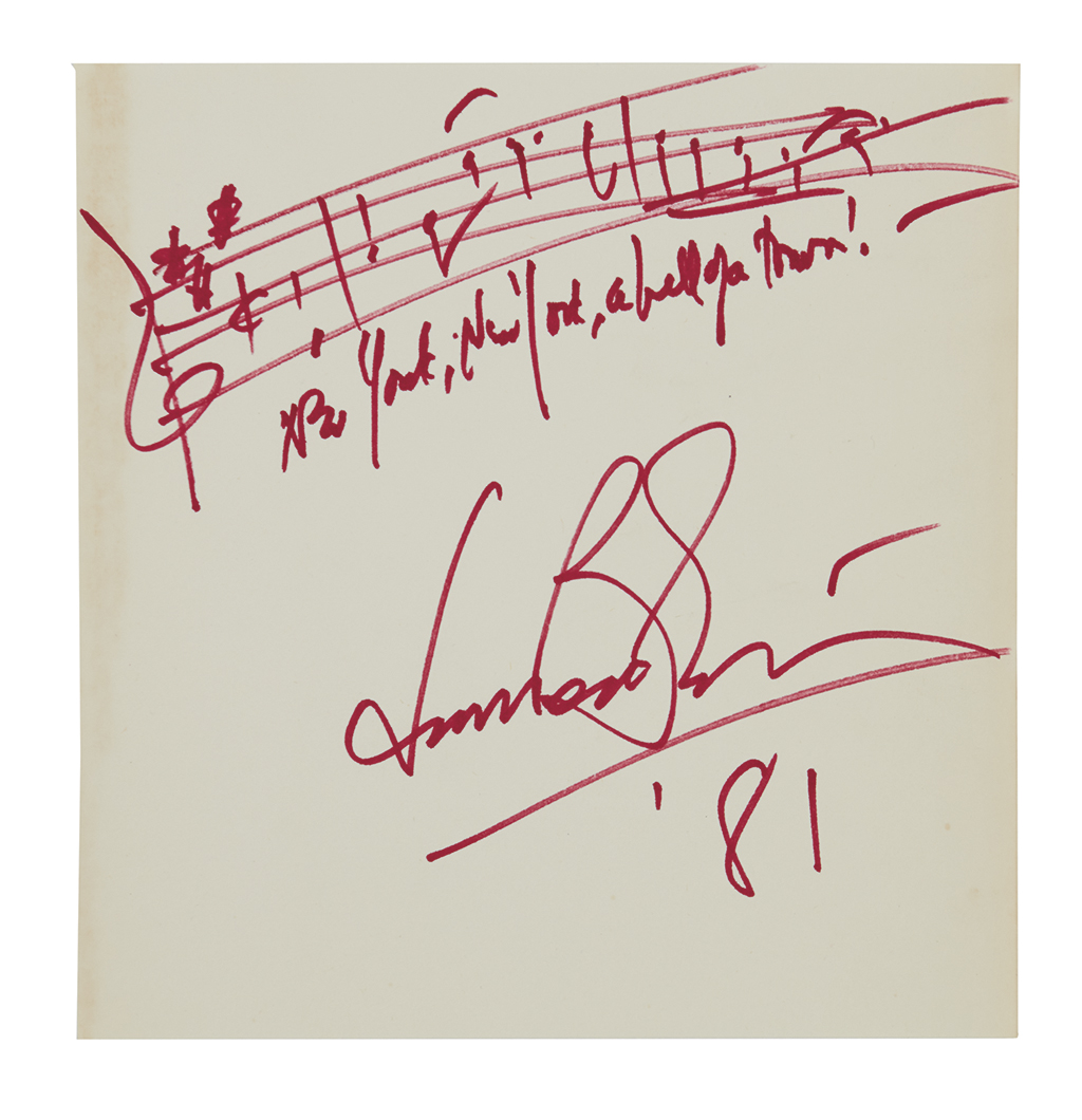 BERNSTEIN, LEONARD. Autograph Musical Quotation dated and Signed, 3 bars from his New York, New York, a hell of a town in On the Town