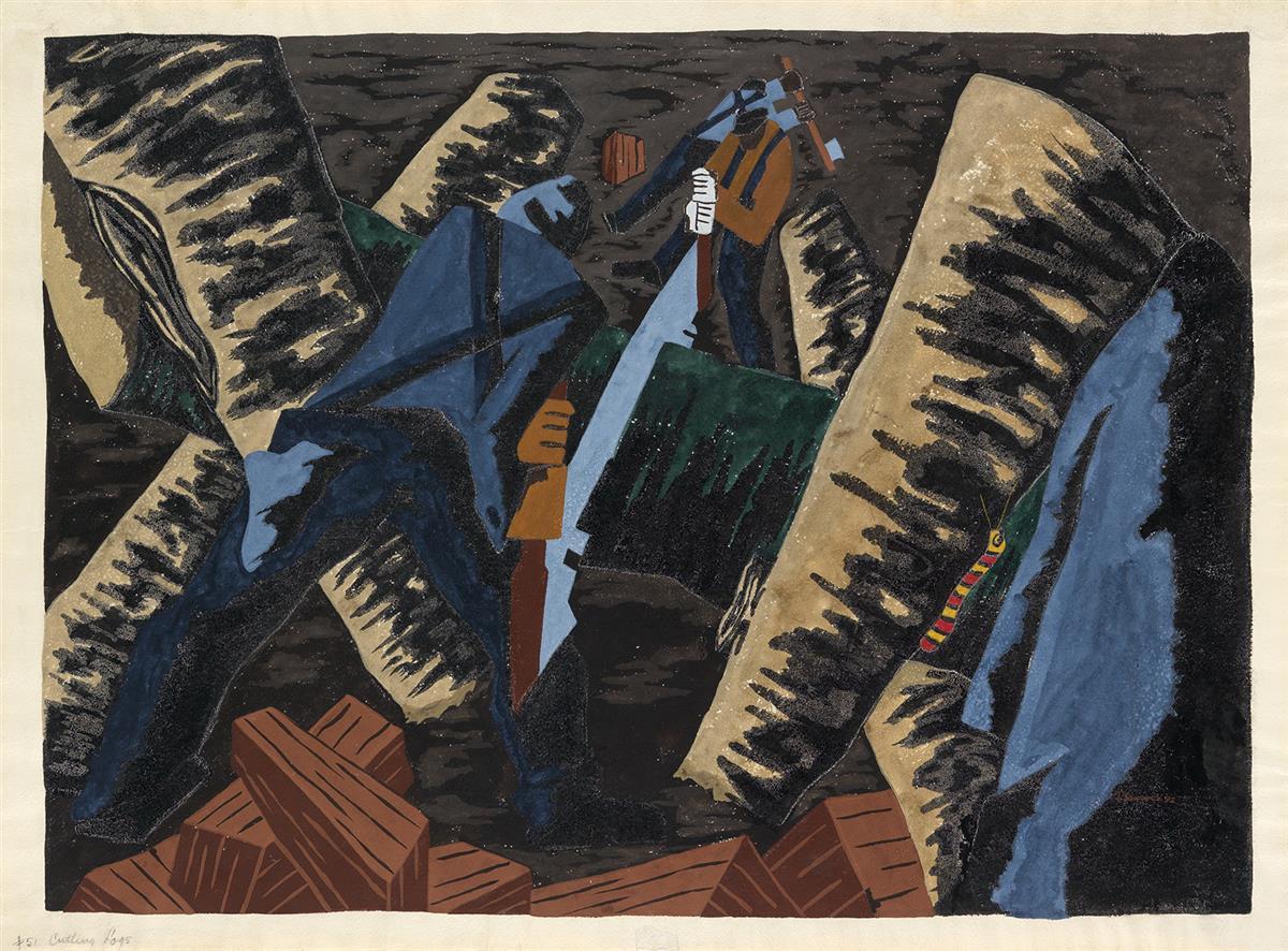 JACOB LAWRENCE (1917 - 2000) Cutting Logs #51.