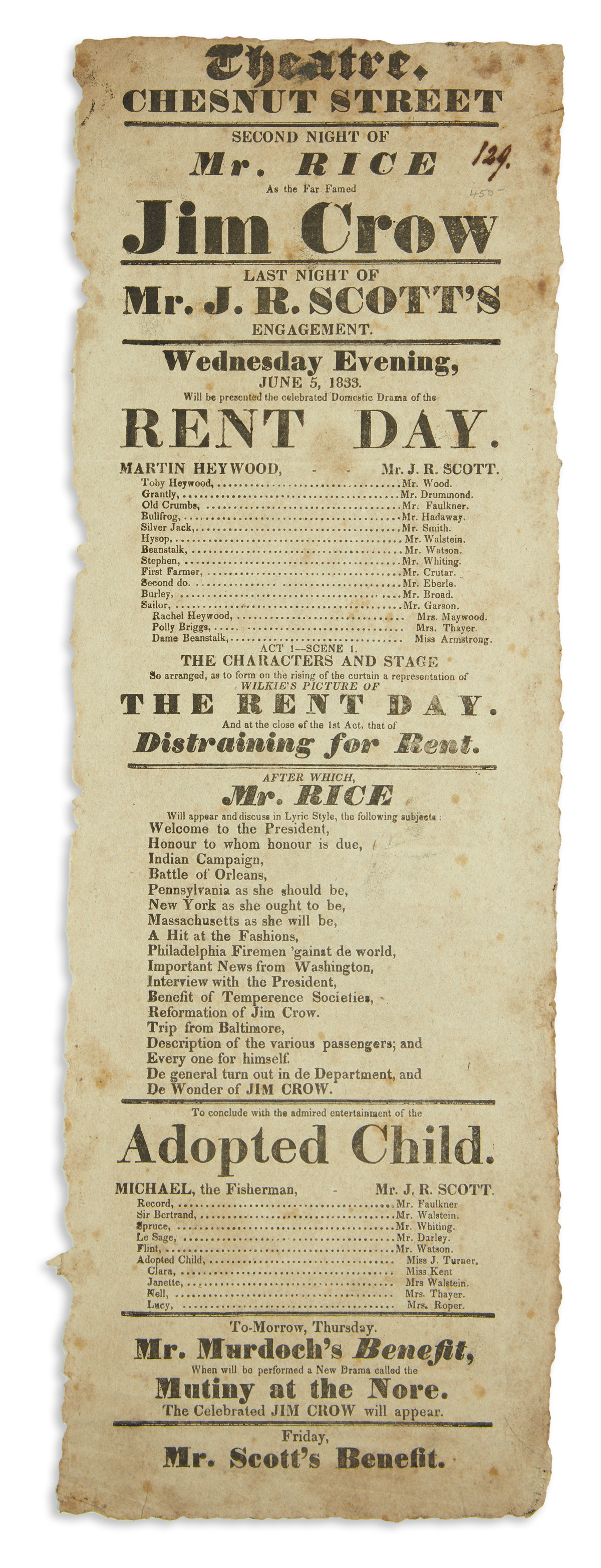 (THEATER.) Chestnut Street Theatre playbill for Mr. Rice as the far-famed Jim Crow.