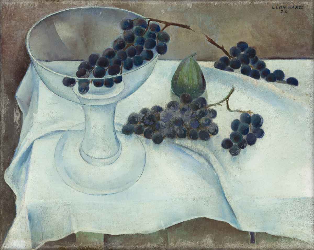 LÉON HARTL (1889-1973) Still Life with Grapes and Glass Bowl.