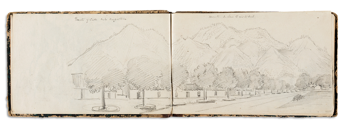 (MEXICO.) Sketchbook of Orizaba done by a French officer during the Franco-Mexican War.