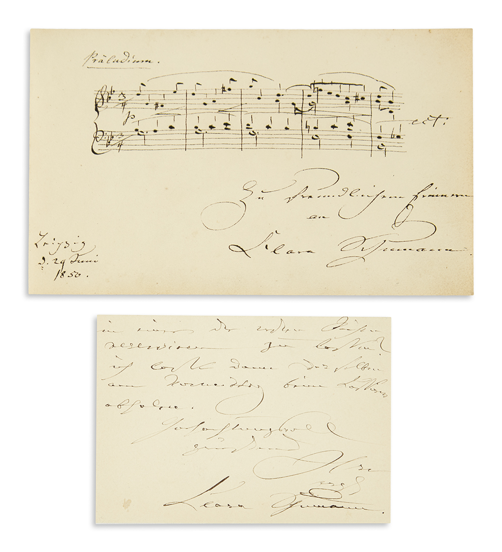 SCHUMANN-CLARA-Two-items-Autograph-Musical-Quotation-Signed-