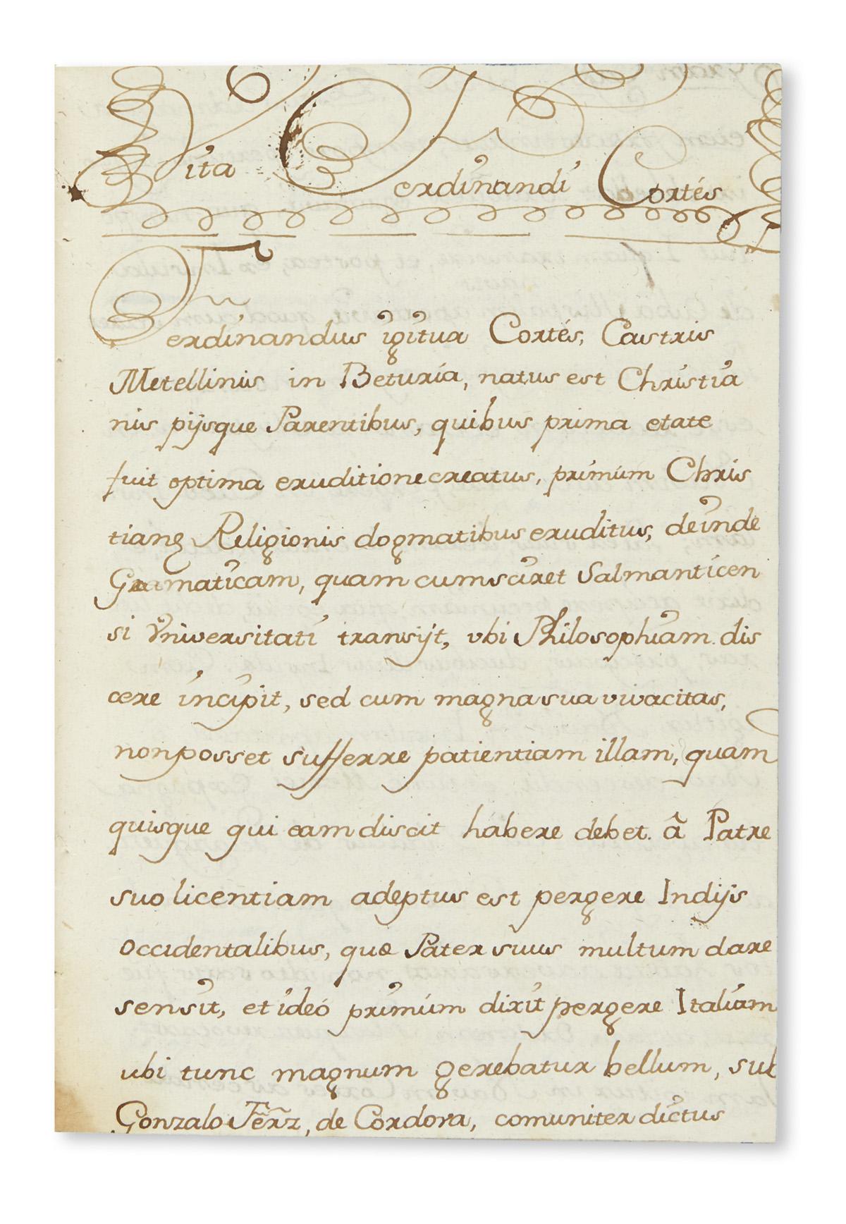(CORTES, HERNAN.) Uriarte, Juan Tomas de. Vita magnificentissi proclarissimi atque numquam satis laudati Ferdinandi de Cortes.
