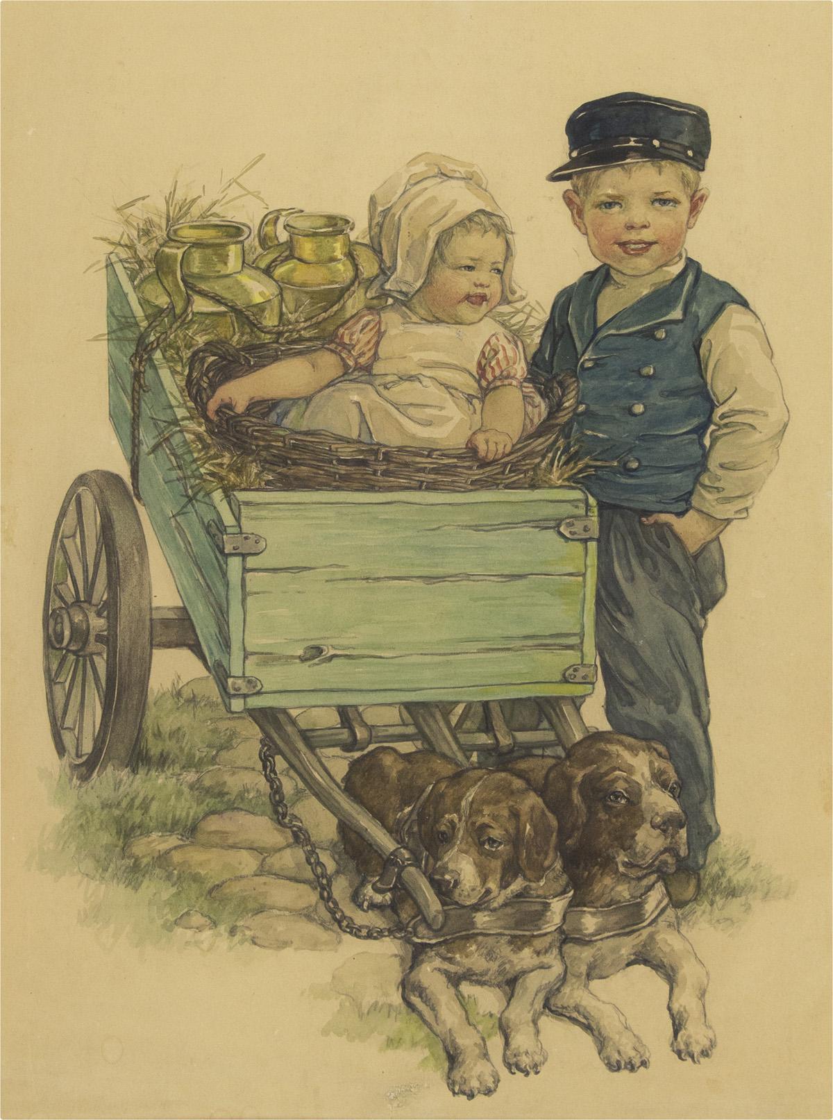 CLARA-MILLER-BURD-Children-with-a-Dog-Cart-[CHILDRENS]