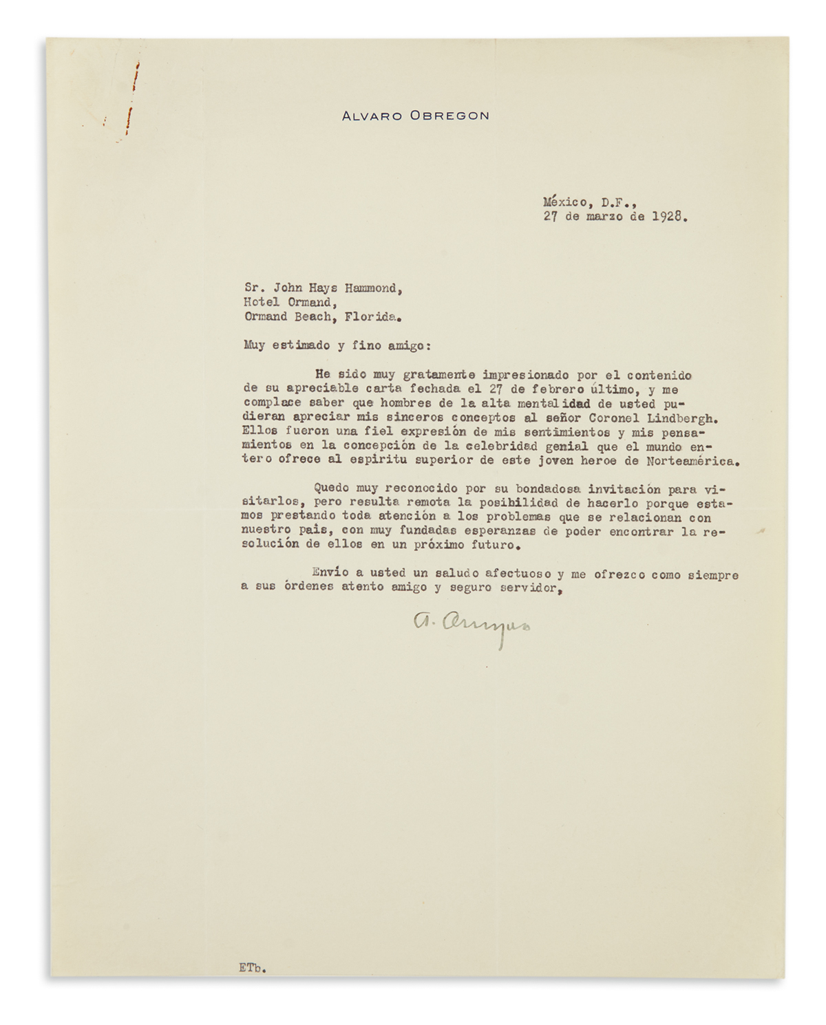 OBREGÓN-ÁLVARO-Group-of-4-Typed-Letters-Signed-AObregon-to-J
