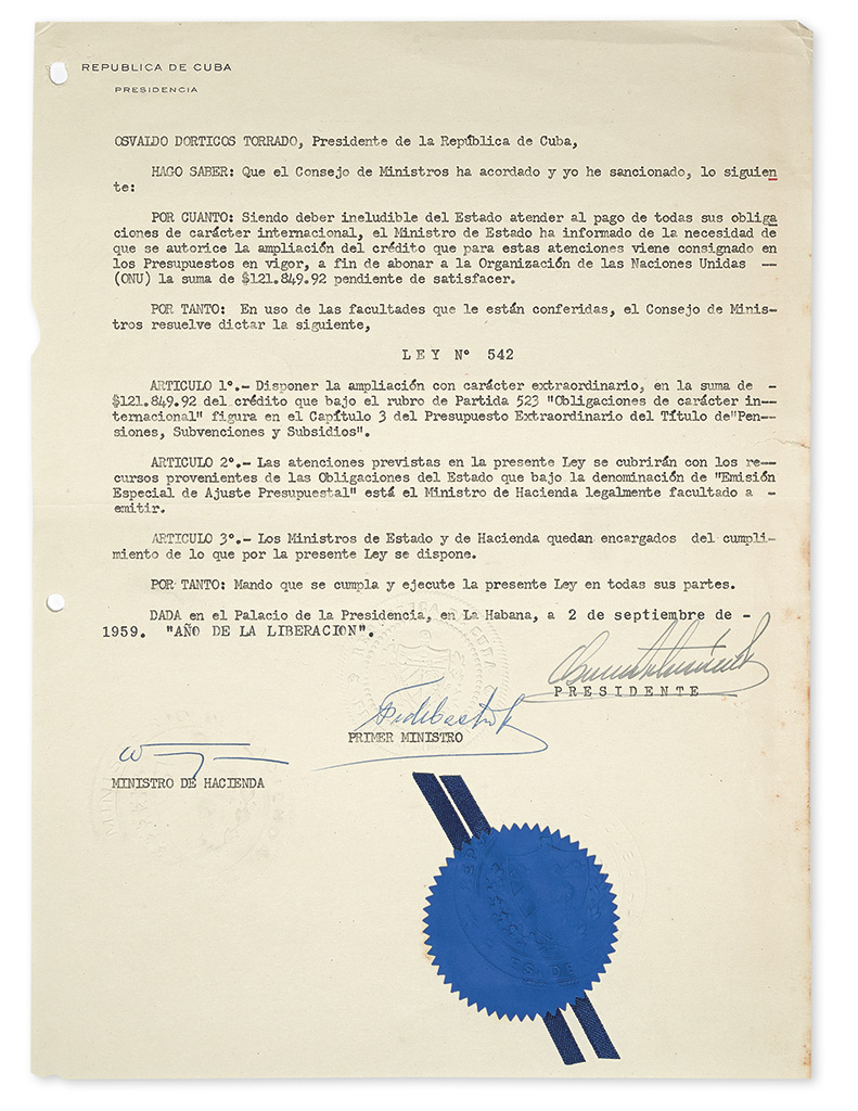 CASTRO, FIDEL. Two Typed Documents Signed, as Prime Minister, each promulgating a law, in Spanish.