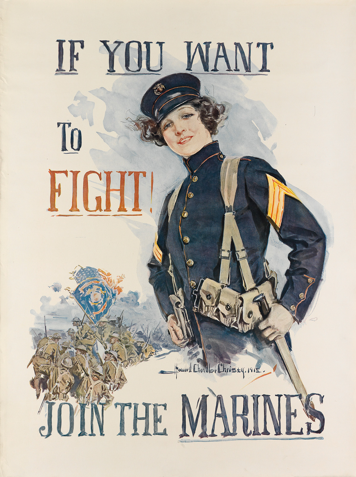 HOWARD-CHANDLER-CHRISTY-(1873-1952)-IF-YOU-WANT-TO-FIGHT--JOIN-THE-MARINES-1915-40x30-inches-101x76-cm
