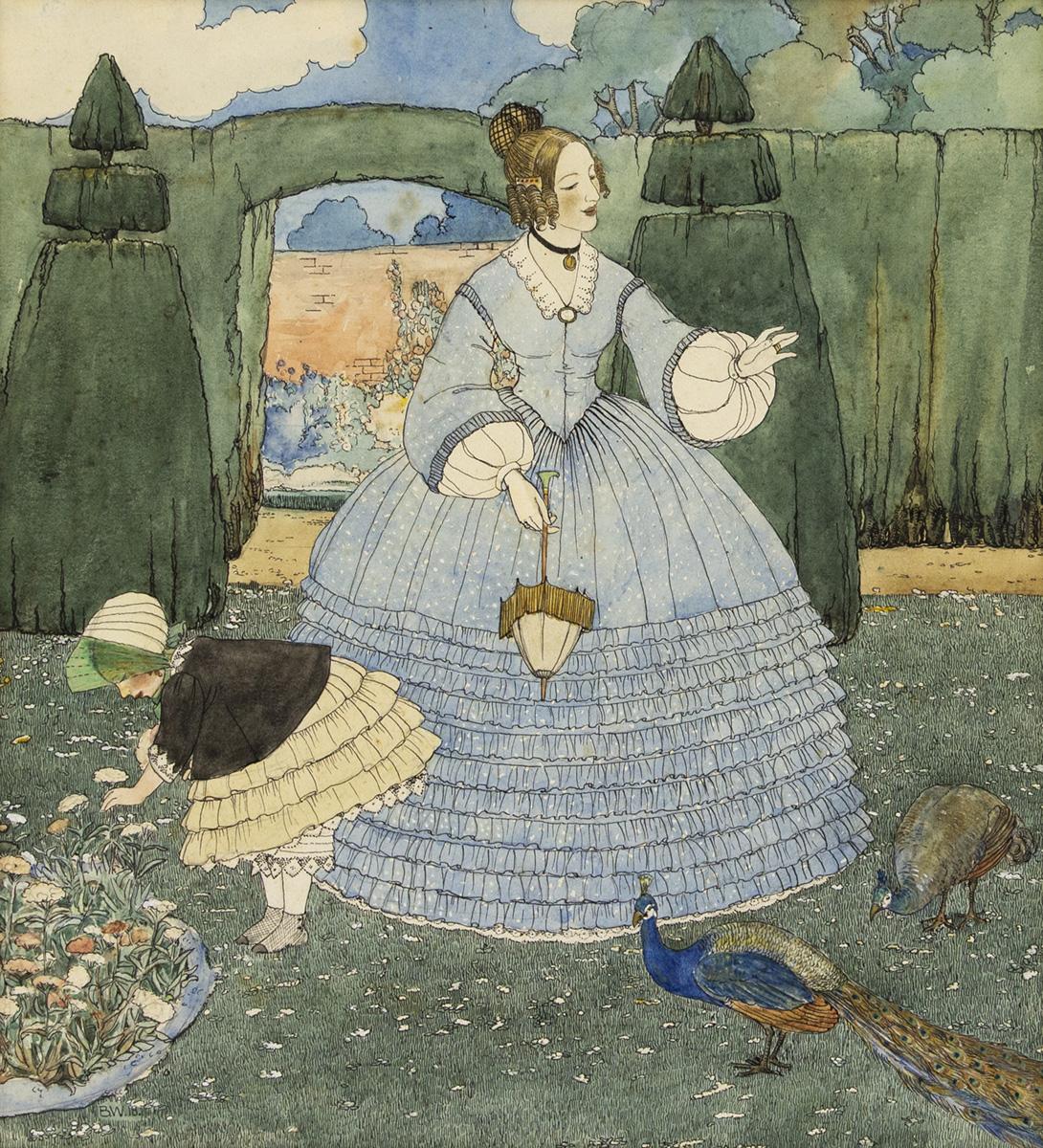 [FAIRY TALE] B.W. Garden scene with peacock. [CHILDRENS]