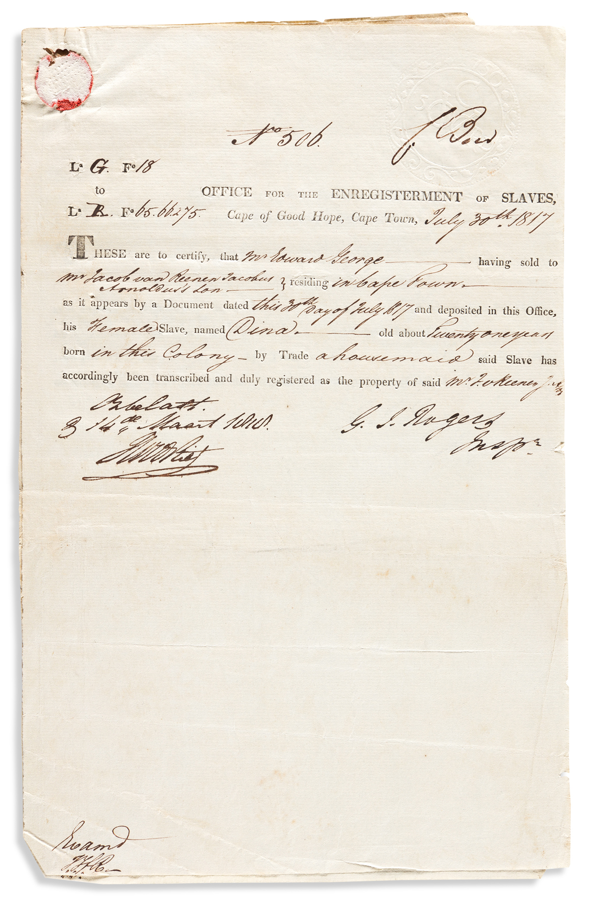 (SLAVERY AND ABOLITION--AFRICA.) Certificates for a woman named Dina sold twice in two days in British Cape Town.