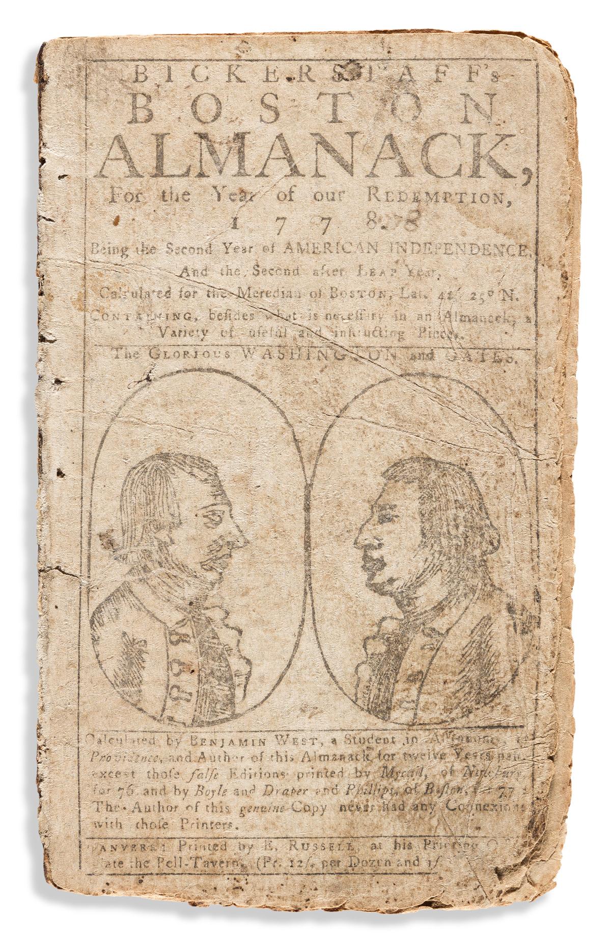 (WASHINGTON.) Benjamin West. Bickerstaffs Boston Almanack, for the Year of our Redemption, 1778.