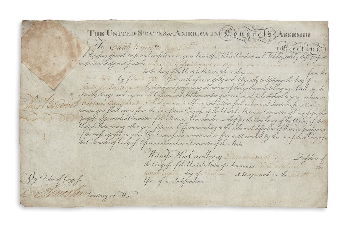 BOUDINOT-ELIAS-Partly-printed-vellum-Document-Signed-as-Pres