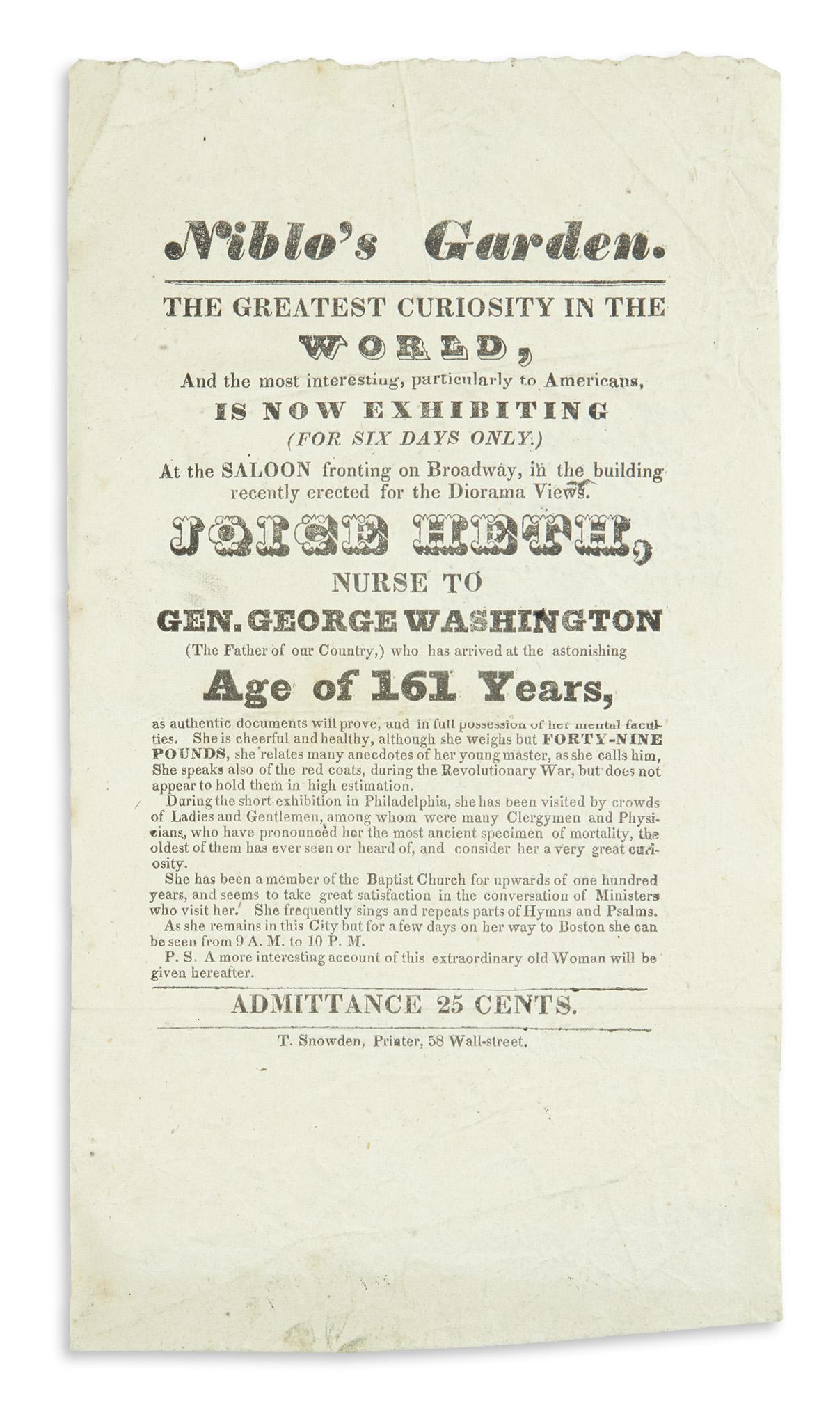 (ENTERTAINMENT--CIRCUS.) Early appearance of Joice Heth, said to be George Washingtons nursemaid.