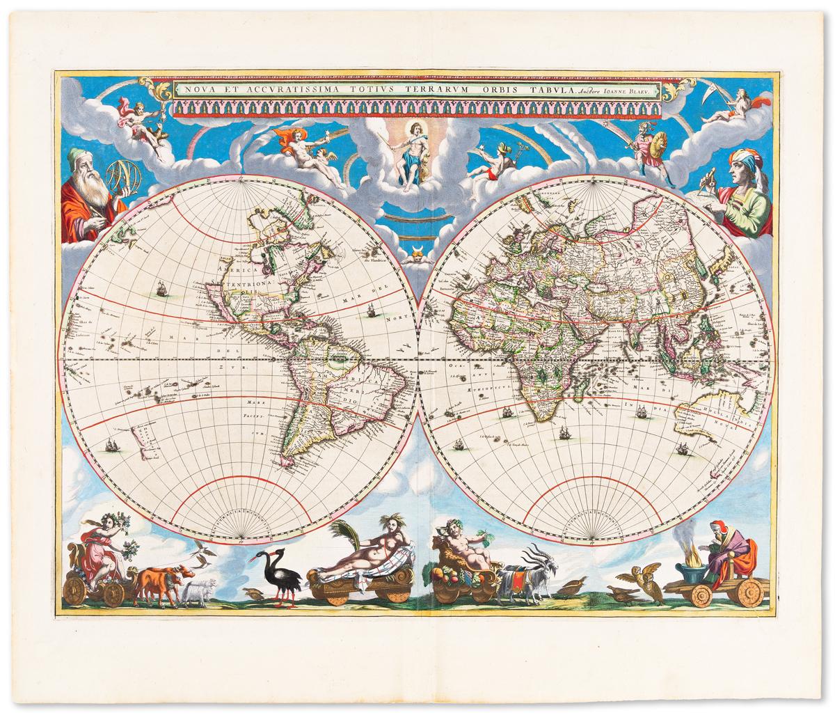 BLAEU, JOHANNES. Nova et Accuratissima Totius Terrarum Orbis Tabula.