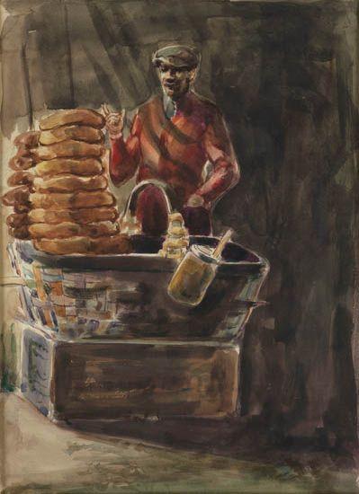 DOX THRASH (1893 - 1965) Man Selling Bread.