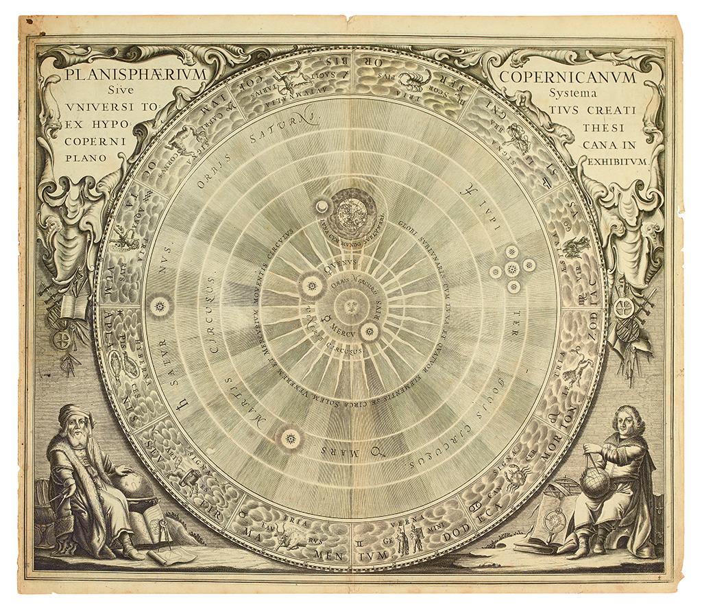 CELLARIUS, ANDREAS. Planisphaerium Copernicanum Sive Systema Universi Totius Creati Ex Hypothesi Copernicana In Plano Exhibitum.