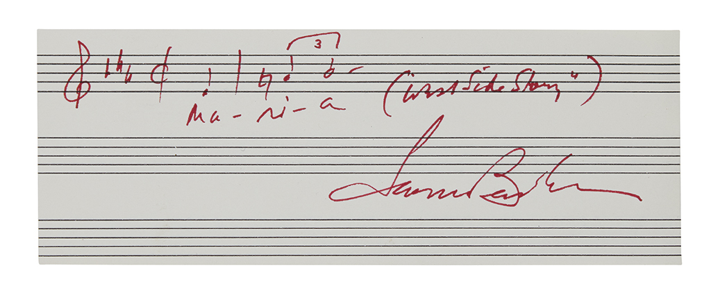 BERNSTEIN, LEONARD. Autograph Musical Quotation Signed, two bars from Maria in West Side Story,