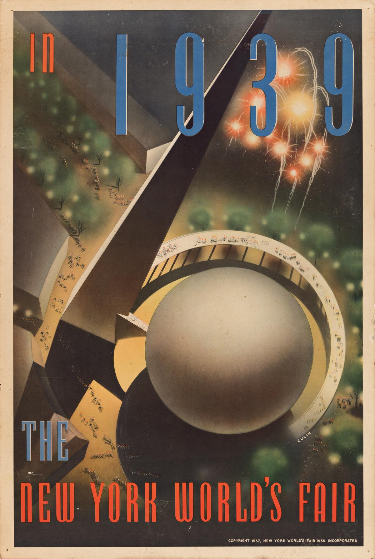 NEMBHARD N. CULIN (1908-1990).  IN 1939 / THE NEW YORK WORLDS FAIR. 1937. 30x20 inches, 76x50¾ cm.