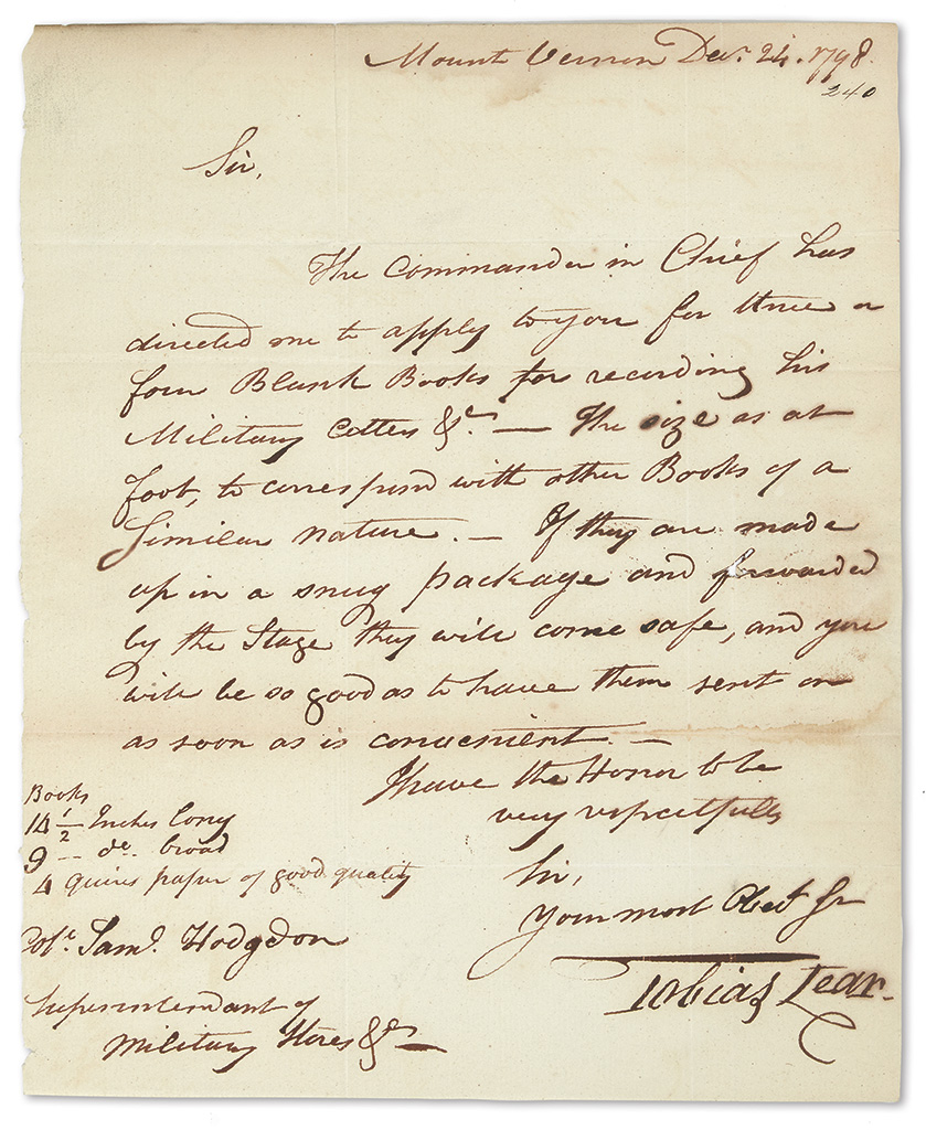 (WASHINGTON-GEORGE)-LEAR-TOBIAS-Autograph-Letter-Signed-to-S