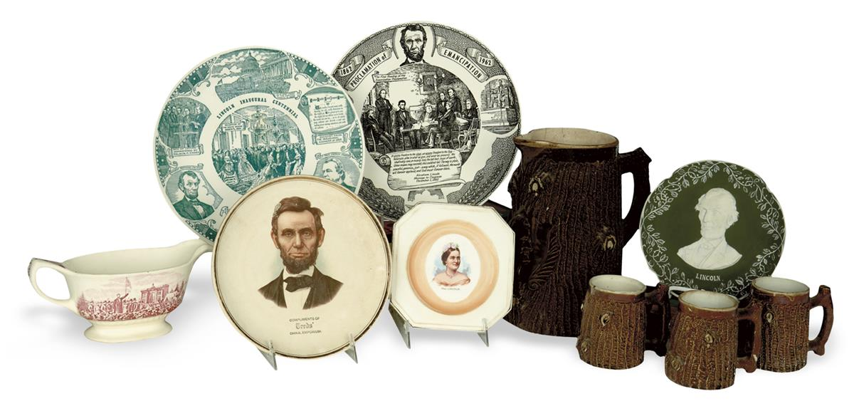(REALIA)-Group-of-12-Lincoln-themed-ceramic-pitchers-mugs-an