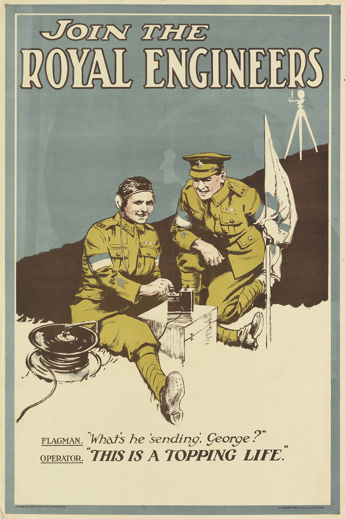 DESIGNER UNKNOWN. JOIN THE ROYAL ENGINEERS. 1919. 30x20 inches, 76x50 cm. The Dangerfield Printing Co. Ltd., London.