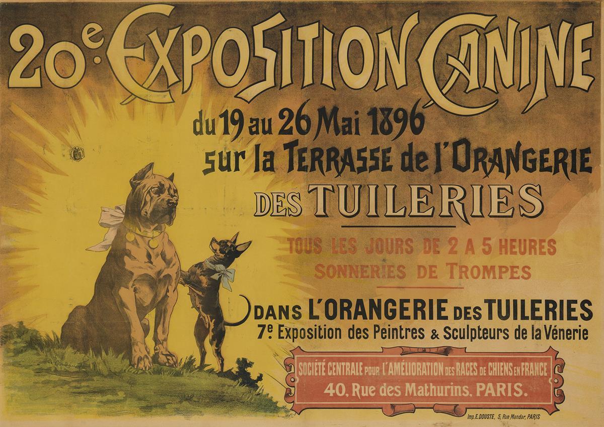 DESIGNER UNKNOWN. 20E EXPOSITION CANINE / DES TUILERIES. 1896. 35x50 inches, 90x127 cm. E. Douste, Paris.