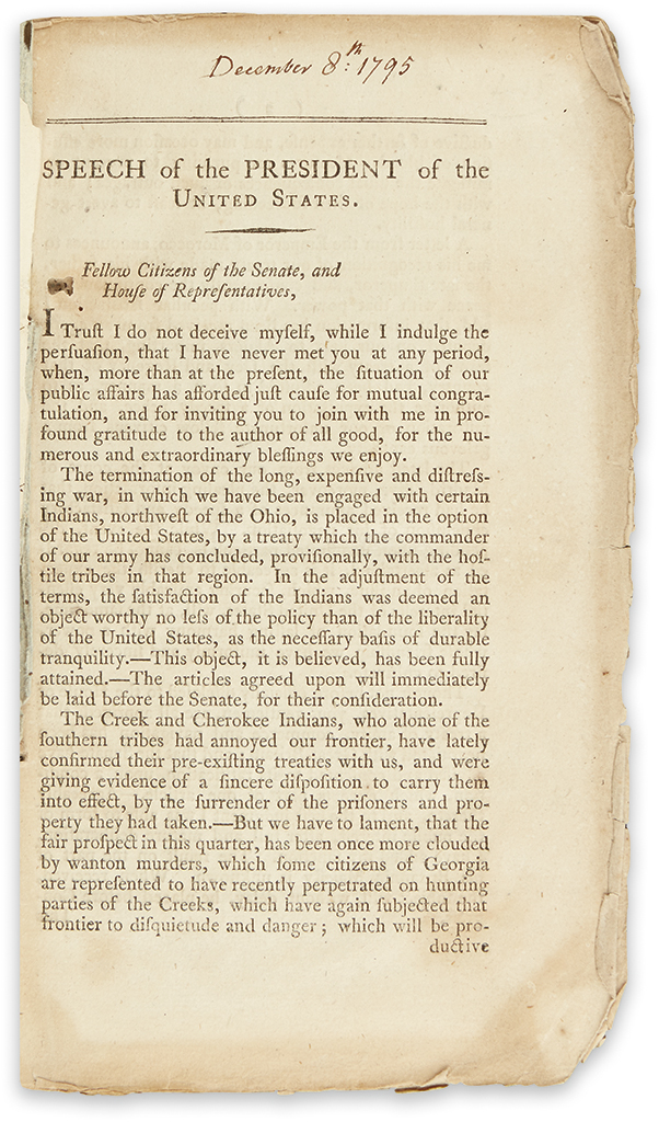WASHINGTON, GEORGE. Speech of the President of the United States.