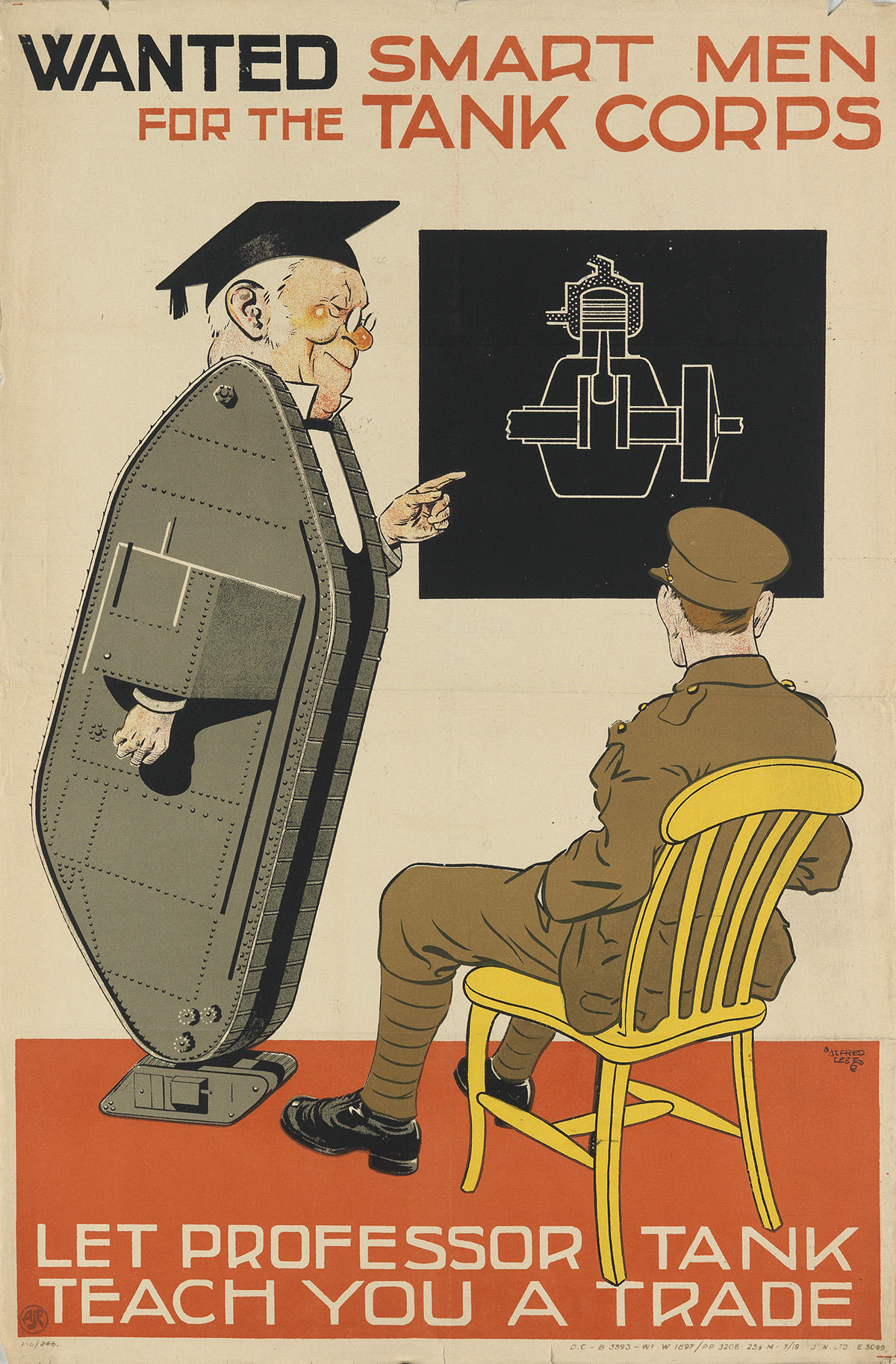 ALFRED LEETE (1882-1933). WANTED SMART MEN FOR THE TANK CORPS. 1919. 30x20 inches, 76x50 cm. J.W. Ltd. [London.]
