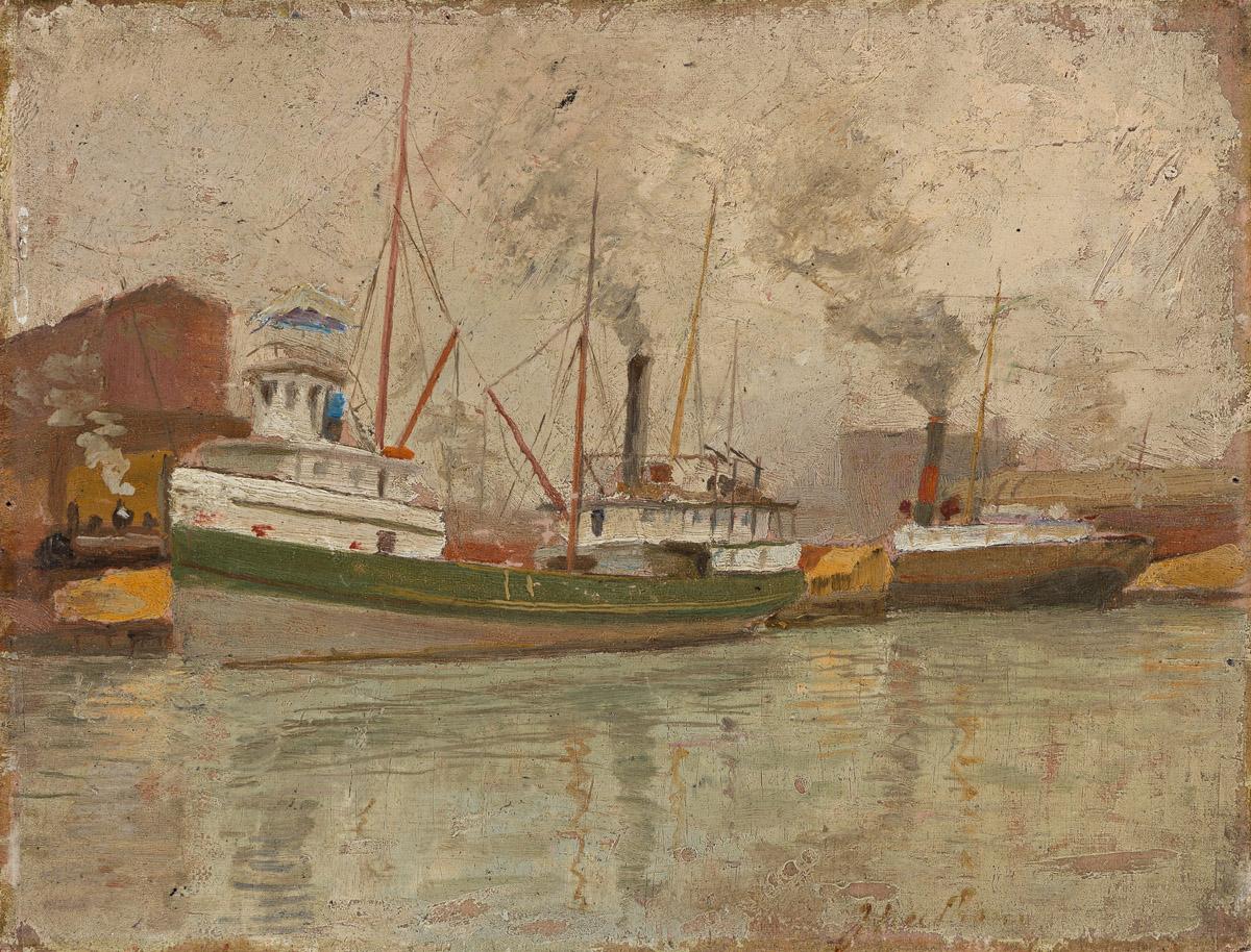 JAMES BOLIVAR NEEDHAM (1850 - 1931) Untitled (Chicago River Scene).