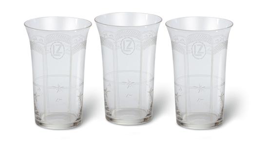 """(ZEPPELIN.) Fine group of 3 glasses from """"Graf Zeppelin,"""""""