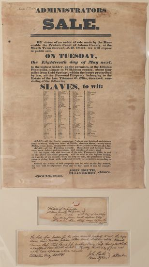 (SLAVERY AND ABOLITION.) [SLAVE SALE BROADSIDE]. Administrator''s Sale. . .On Tuesday, the Eighteenth of May Next to the highest bidd