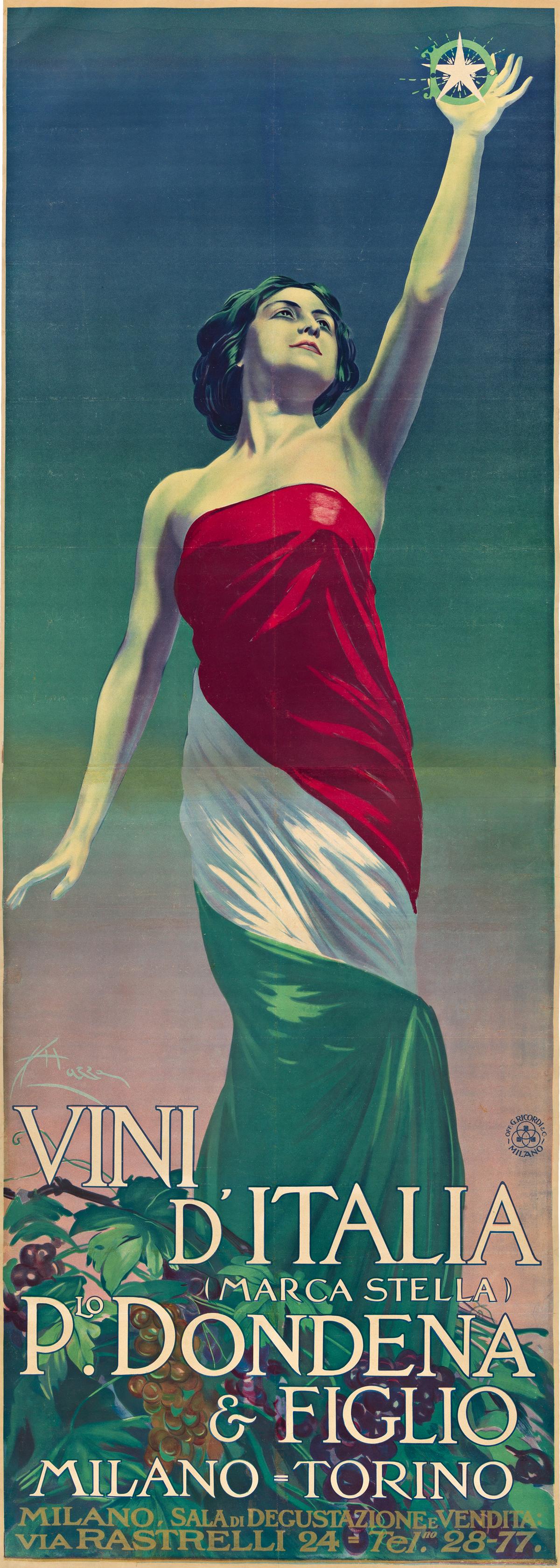 ALDO MAZZA (1880-1964).  VINI DITALIA / PLO. DONDENA & FIGLIO. Circa 1920. 78x28 inches, 198x71 cm. G. Ricordi & C., Milan.