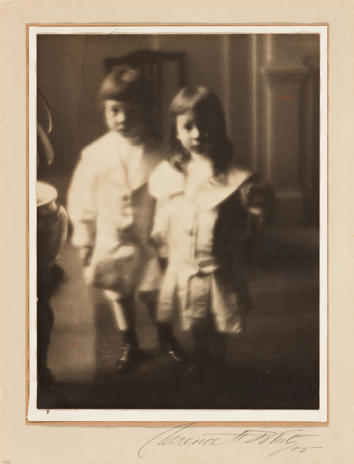 CLARENCE H. WHITE (1871-1925) Portrait of two children, Milman Hart and Vincent Bliss Linn.