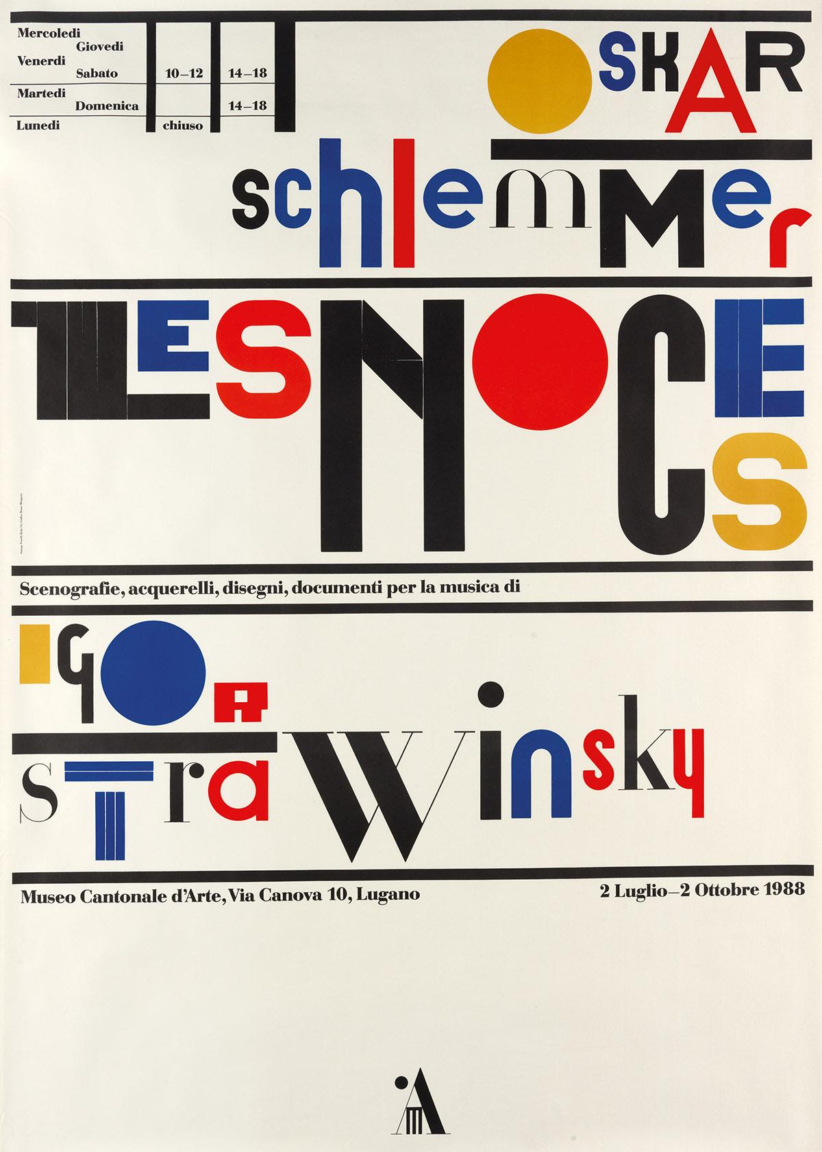 BRUNO MONGUZZI (1941- ). OSKAR SCHLEMMER / LES NOCES / IGOR STRAVINSKY. 1988. 50x35 inches, 127x90 cm. Fratelli Roda, Taverne.