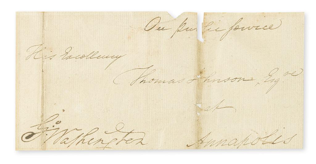 WASHINGTON, GEORGE. Franking Signature, G:Washington, on address panel,