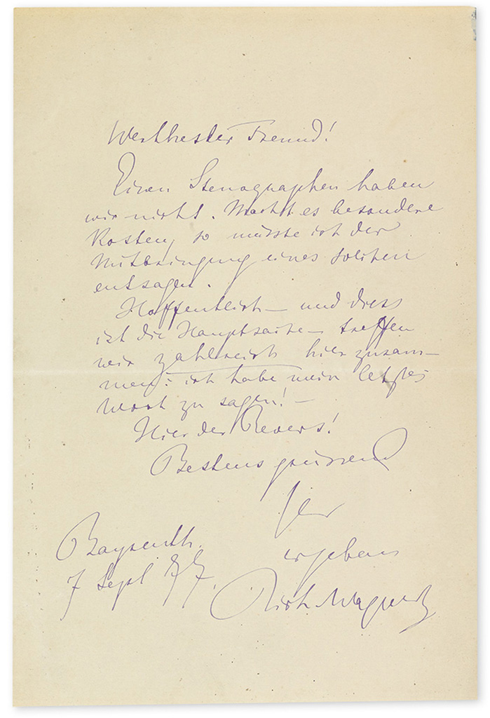 WAGNER, RICHARD. Autograph Letter Signed, Rich. Wagner, to Most esteemed friend!, in German, in purple ink,
