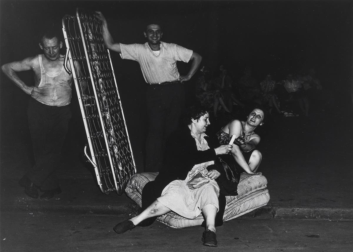 WEEGEE-[ARTHUR-FELLIG]-(1899-1968)-Women-on-a-Mattress--Sewi