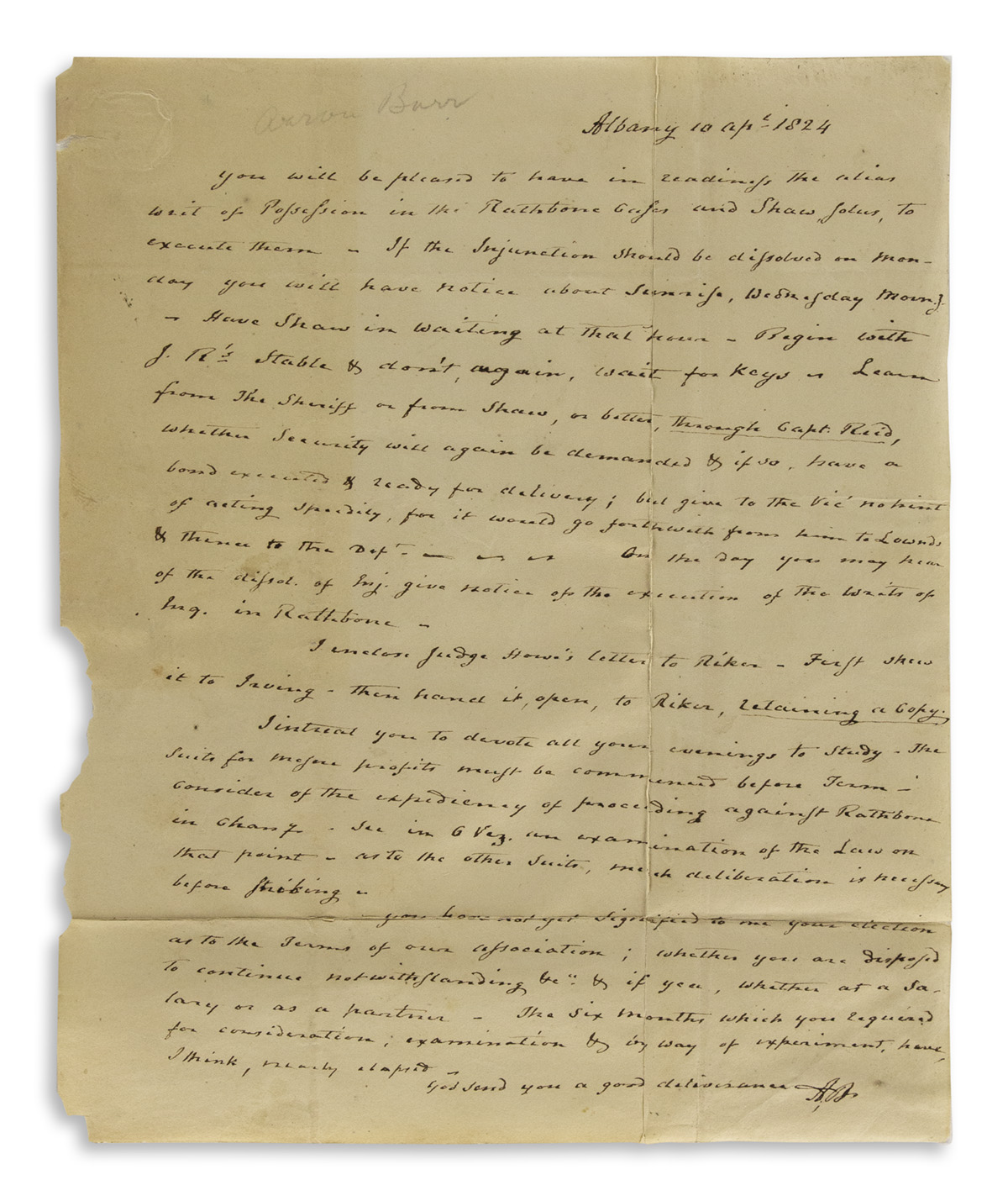 BURR-AARON-Autograph-Letter-Signed-AB-to-his-young-business-