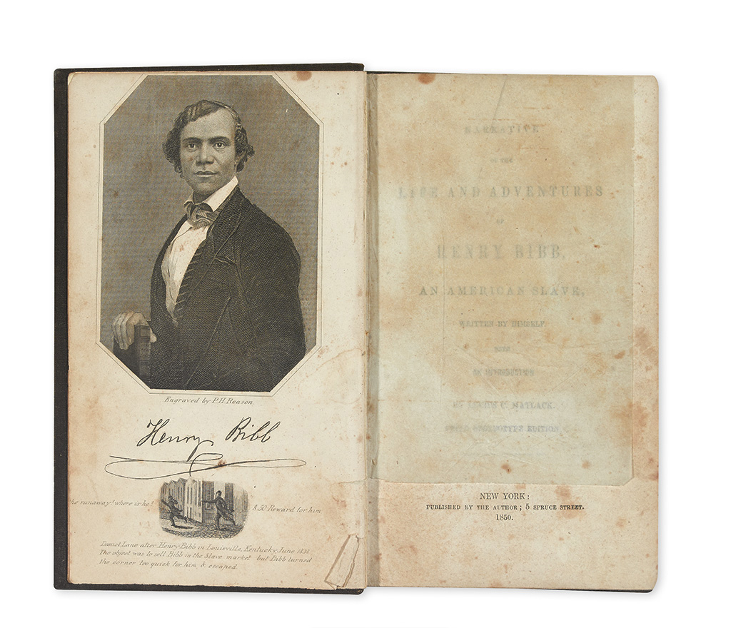 (NARRATIVES.) BIBB, WILLIAM. Narrative of the Life and Adventures of Henry Bibb, an American Slave, written by Himself.
