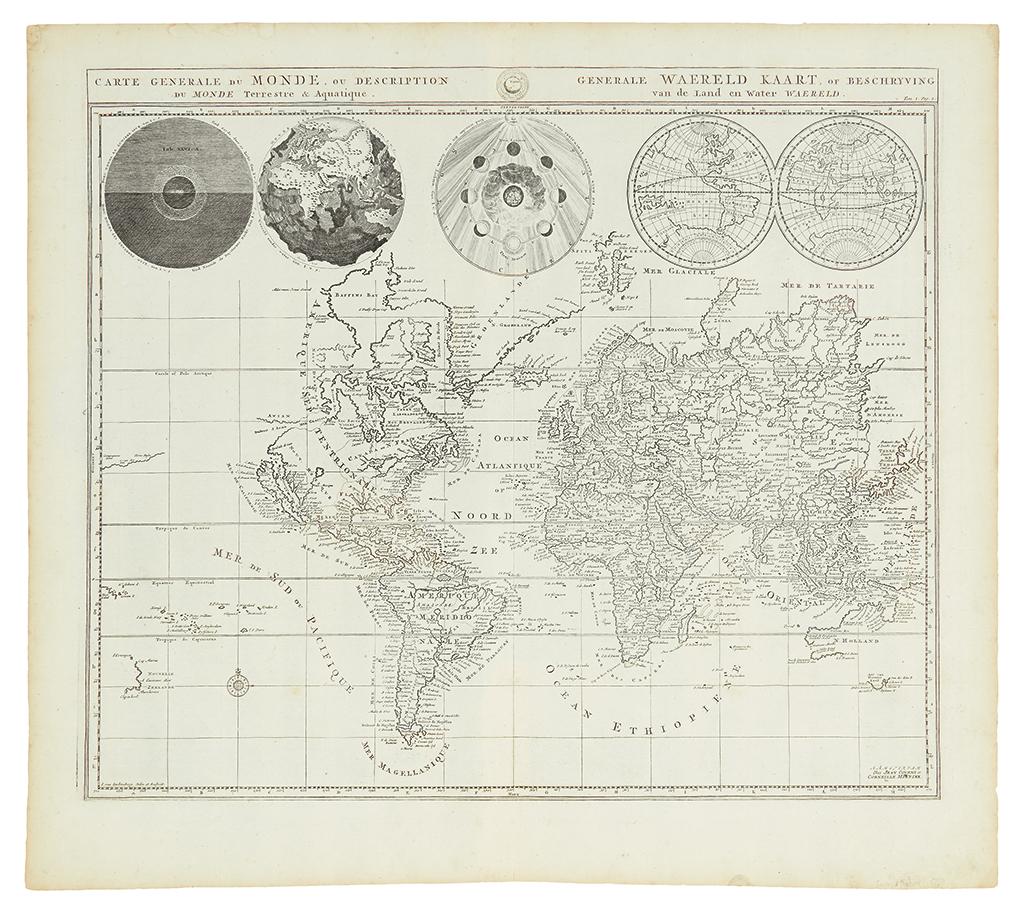 COVENS, JOHANNES; and MORTIER, CORNELIS. Carte Generale du Monde, ou Description du Monde Terrestre & Aquatique.
