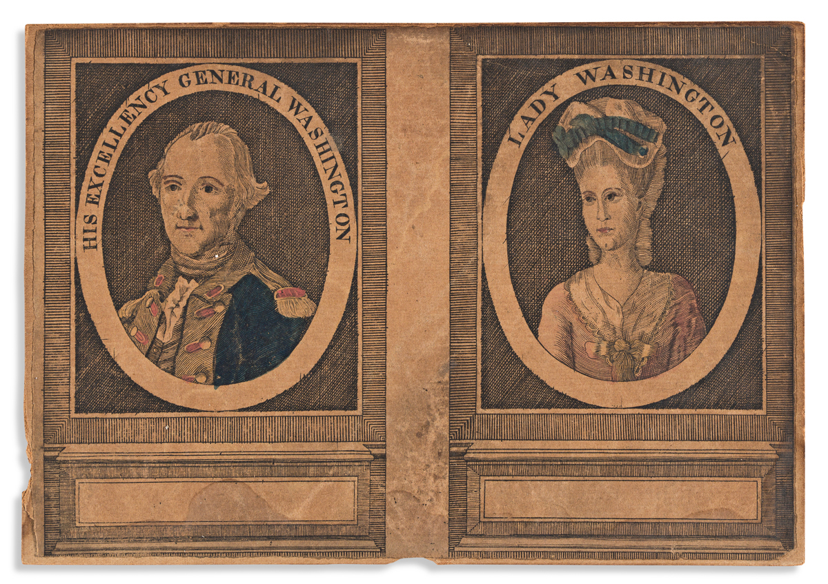 (WASHINGTON.) Unknown engraver; after Charles Wilson Peale. His Excellency General Washington / Lady Washington.