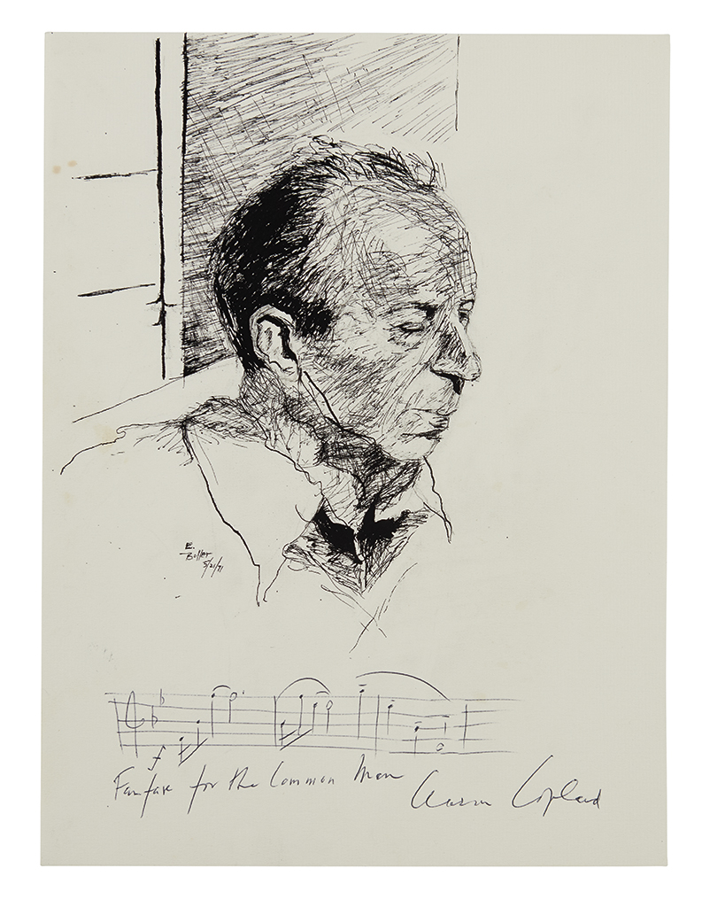 COPLAND, AARON. Autograph Musical Quotation Signed, on an original ink drawing by E. Boller.