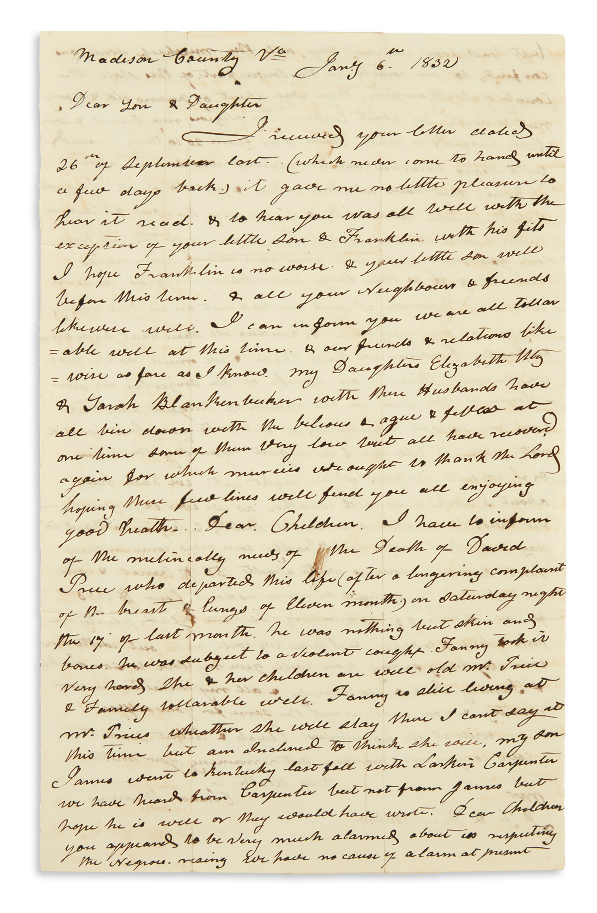 (SLAVERY AND ABOLITION.) Weaver, Eleanor. Letter containing news of Nat Turners Rebellion.