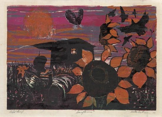 WALTER WILLIAMS (1920 - 1988) Sunflowers.