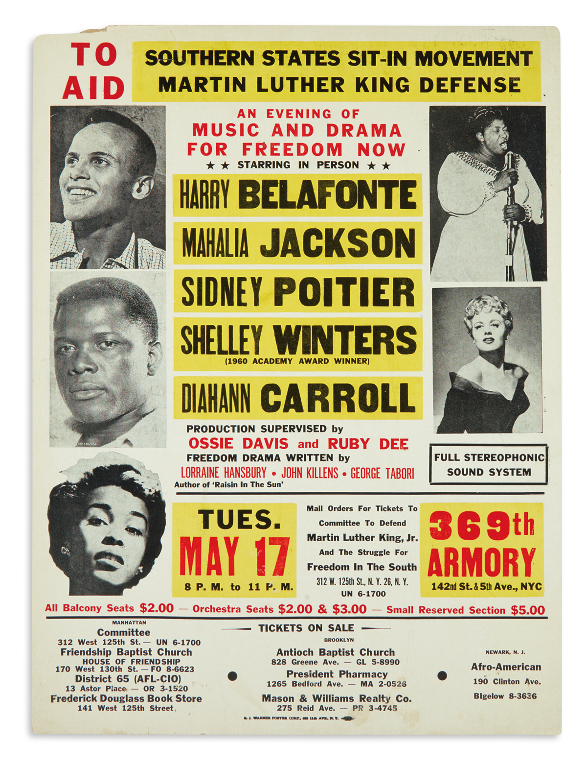 (CIVIL RIGHTS.) Poster for a concert to aid the Martin Luther King Defense Fund.