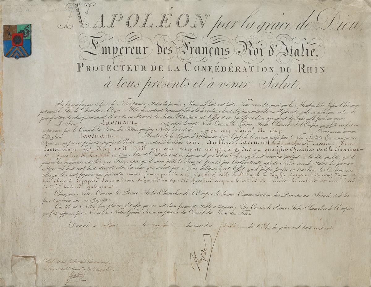 NAPOLÉON-Partly-printed-vellum-Document-Signed-Napoleon-conferring-the-title-of-Chevalier-de-Toukerb-on-Ambroise-Louis-de-Lavenant